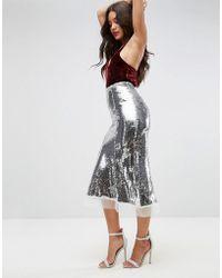 2bd5aa5710 TFNC London Foiled Metallic Pleated Midi Skirt - Lyst