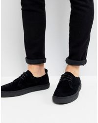 Fred Perry - Linden Suede Shoes In Black - Lyst