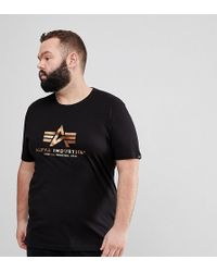 Alpha Industries - Gold Foil Print Crew Neck T-shirt In Black - Lyst