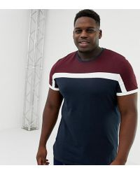 ASOS - Plus T-shirt With Colour Block In Navy - Lyst