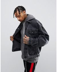 ASOS - Oversized Denim Jacket In Washed Black - Lyst