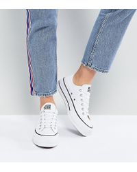 Converse - Chuck Taylor All Star Platform Ox Trainers In White - Lyst