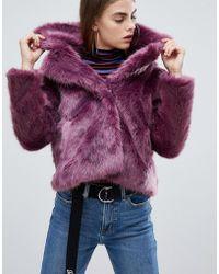 Bershka - Fur Short Jacket In Purple - Lyst