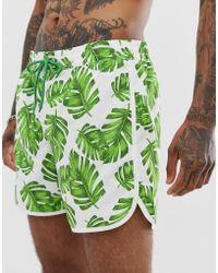 7948bce0f0 South Beach - White Leaf Print Shorts With Elasticated Waist - Lyst