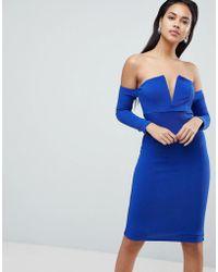 ASOS - V Bar Bardot Textured Midi Dress - Lyst