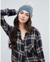 Alice Hannah - Chunky Cable Knit Beanie Hat - Lyst