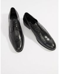 Dune - Brogues In Black Hi-shine Leather - Lyst
