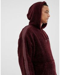 ASOS - Oversized Hoodie In Burgundy Borg With Side Stripe - Lyst