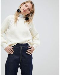 Mango - Cable And Crochet Knitted Jumper - Lyst