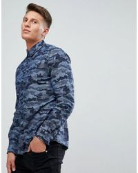 Esprit - Shirt With Camo Print In Blue - Lyst