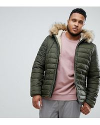 Schott Nyc - Rocky 2 Hooded Puffer Bomber With Detachable Faux Fur Trim In Green - Lyst