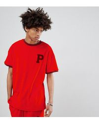 PUMA - Organic Cotton Towelling T-shirt In Red Exclusive To Asos - Lyst