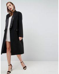 ASOS - Slim Coat With Tux Detail - Lyst