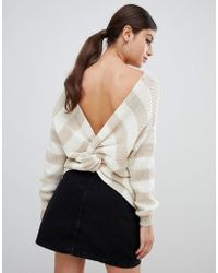 PrettyLittleThing - Twist Back Sweater In Stripe - Lyst