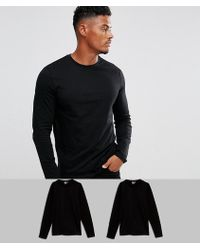 ASOS - Long Sleeve T-shirt With Crew Neck 2 Pack Save - Lyst