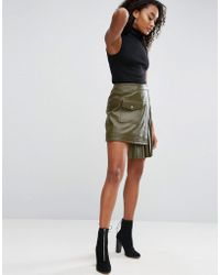 ASOS - Asos Leather Skirt With Pleated Sides - Lyst
