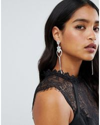 Lipsy - Statement Jewelled Earrings In Sliver - Lyst
