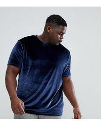 ASOS   Plus T-shirt In Velvet In Navy   Lyst