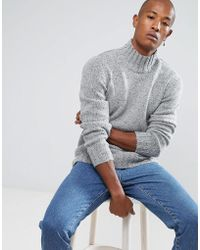 SELECTED - Knitted High Neck Jumper With Silk Mix Fleck Detail - Lyst