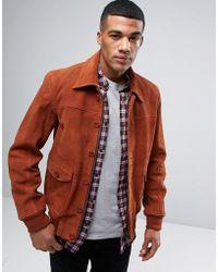 Barneys Originals - Barneys Premium Suede 70's Style Lined Harrington Jacket - Lyst