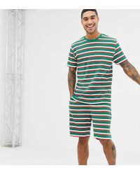 ASOS - Christmas Short Pyjama Set In Festive Stripes - Lyst