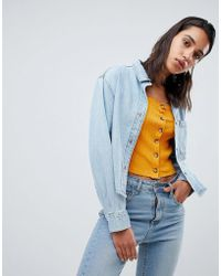 Weekday - Cropped Denim Overshirt In Organic Cotton - Lyst
