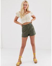 Miss Selfridge Cargo Shorts In Khaki - Green