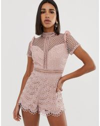 Love Triangle - High Neck Cutwork Lace Playsuit In Pink - Lyst