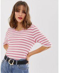 47b69e0425640 Lyst - LNA Lna Open Shoulder T-shirt in Natural