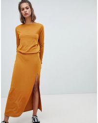 Pull&Bear - Maxi Dress With Elastic Waist - Lyst