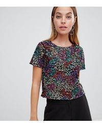 bd7f90d553b605 ASOS - Asos Design Petite T-shirt With Sequin Embellishment - Lyst