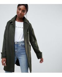 ASOS - Asos Design Tall Coat In Twill With Buckle Neck - Lyst