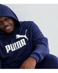 PUMA - Plus Essentials Pullover Hoodie In Navy 85174306 - Lyst