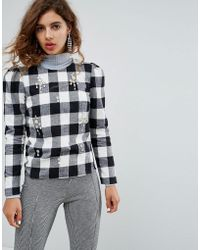 House of Holland - Embellished Top In Check - Lyst