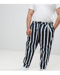 ASOS - Plus Wide Balloon Trousers In All Over Stripe - Lyst