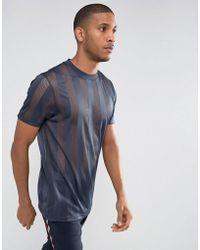 ASOS - Longline Mesh T-shirt In Navy - Lyst