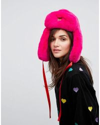 Lazy Oaf - Pink Faux Fur Trapper Hat - Lyst