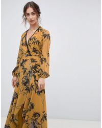 ddd16996892f Hope and Ivy - Vestito lungo a portafoglio con maniche lunghe e stampa di  uccelli -