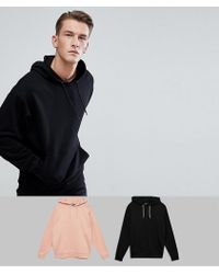 ASOS   Oversized Hoodie Multipack In Black And Pink   Lyst