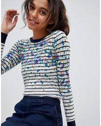 Oasis - Floral Stripe Print Contrast Cuff Jumper - Lyst