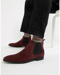 PS by Paul Smith - Falconer Suede Low Chelsea Boot In Burgundy - Lyst