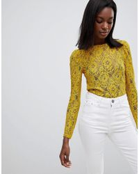 Oasis - Lace Long Sleeve Top - Lyst