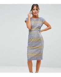 ASOS - Occasion Lace Pencil Dress With Contrast Lining - Lyst