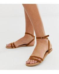 6c4bc671b84c Boohoo - Strappy Flat Sandals With Ankle Strap In Tan - Lyst