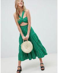 ASOS - Design Tiered Cotton Midi Skirt In Green Stripe Two-piece - Lyst