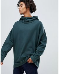 ASOS DESIGN - Oversized Hoodie With Slouch Neck In Dark Blue - Lyst