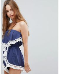 Surf Gypsy - Beach Tassel Trim Romper - Lyst