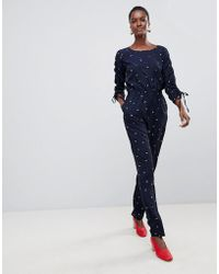 Vila - Printed Drawstring Sleeve Jumpsuit - Lyst