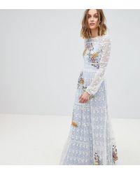 Frock and Frill - Allover Embroidered Folk Maxi Dress - Lyst