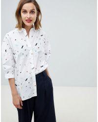 Essentiel Antwerp - Scribble Flower Shirt With Embellishment - Lyst